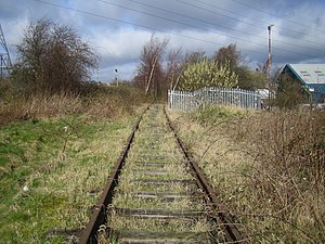 Dunstable Town railway station - View north-west towards the site of Dunstable Town station in April 2006.