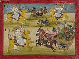 Sumbha and Nisumbha - Durga fighting the rakshashas Shumba and Nishumba