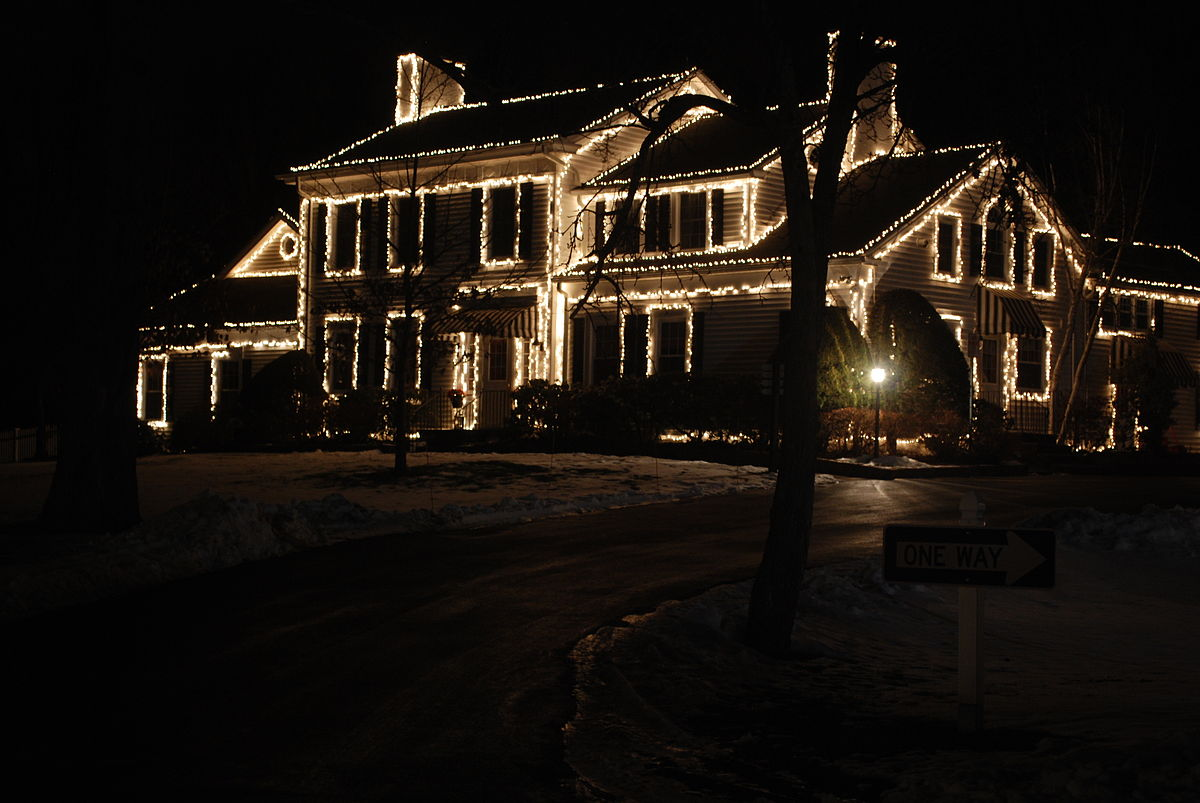 House with Christmas Lights On