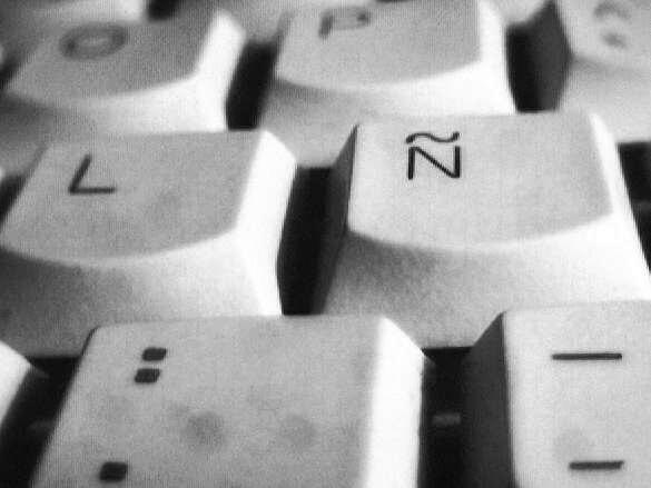 Eñe on keyboard - grey