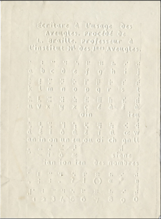 French Braille - A page from an undated early braille textbook, showing both readings, with additional readings not included in Loomis. It is captioned Écritare à l'usage des Aveugles. Procédé de L. Braille. Professeur à l'institut Nl des Jnes Aveugles.