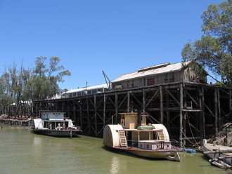Echuca - Echuca's main landmark, its historic wharf on the Murray River