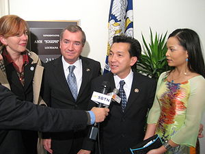 Joseph Cao - California Congressman Ed Royce and his wife welcoming newly elected Congressman Joseph Cao and his wife outside Cao's office