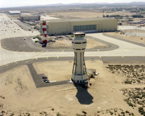 Edwards Air Force Base - An aerial view of the new control tower with the old tower in the background.