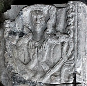 Joan, Lady of Wales - Detail of Joan's sarcophagus in St Mary's and St Nicholas's Church, Beaumaris