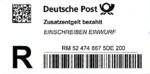 Einschreibzettel Deutsche Post - Einschreiben Einwurf - Zusatzentgelt bezahlt.png