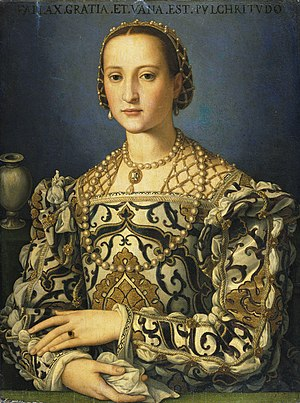 Palazzo Pitti - Eleonora di Toledo, Duchess of Florence, bought the palazzo from the Pitti in 1549 for the Medici. Portrait after Bronzino.
