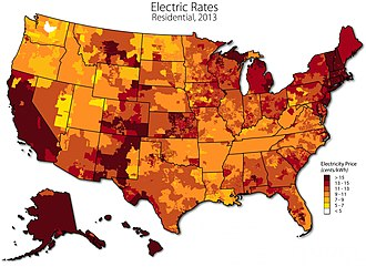 Electricity sector of the United States - Electricity price map of the United States