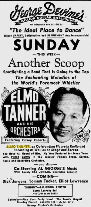 Elmo Tanner - Ad for Tanner and his Orchestra in The Milwaukee Journal, 1947.