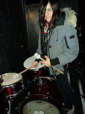 Emily Wells - Emily Wells tunes her drums before her sold-out show at Treefort Music Fest 2013 at the Neurolux in Boise, Idaho