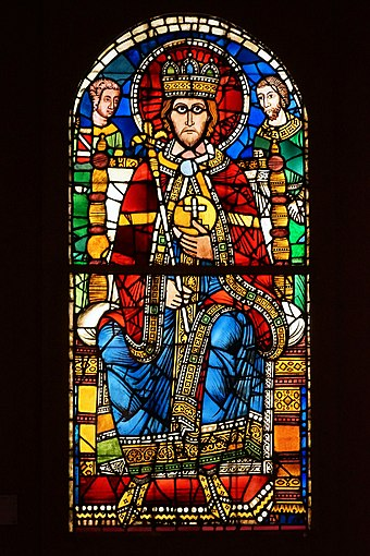 Depiction of Charlemagne in a 12th-century stained glass window, Strasbourg Cathedral, now at Musée de l'Œuvre Notre-Dame.
