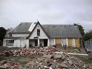 Edward Cephas John Stevens - Englefield Lodge was significantly damaged in the February 2011 Christchurch earthquake