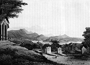 Maria Graham - The English burial ground outside Rio de Janeiro 1823. Drawing by Maria Callcott in Journal of a Voyage to Brazil.