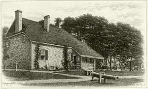 Washington's Headquarters State Historic Site - Engraving of Washington headquarters, 1777