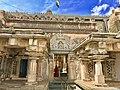 Entrance with Gaja Lakshmi panel, colossal Gommateshwara Bahubali shrine of Jainism at Vindhyagiri Shravanabelagola Karnataka.jpg