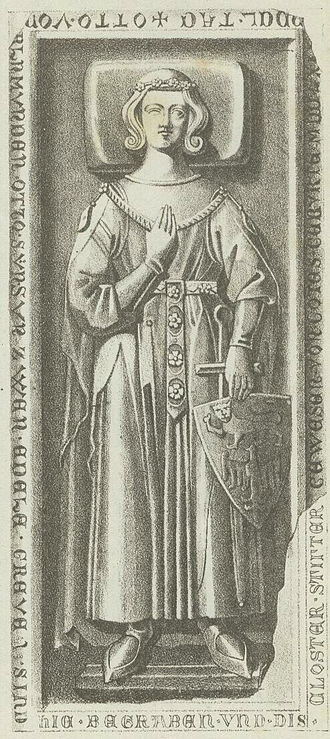 Otto III, Count of Weimar-Orlamünde - Grave stone for Counts Otto III and Otto V (d. 1315) in Himmelkron Abbey