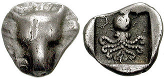 Eretria - Coin of Eretria, 500-490 BC. Silver obol. Obverse: Facing head of cow. Reverse: Octopus in incuse square.
