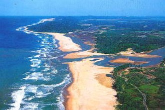 Aquatic ecosystem - An estuary mouth and coastal waters, part of an aquatic ecosystem