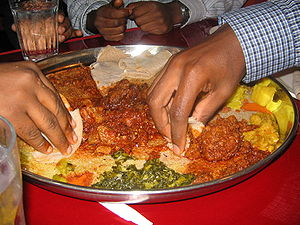 Ethiopian cuisine - A typical serving of wat