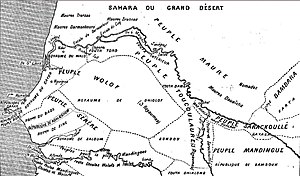 "Serer people - An ethnic map of Senegal in 1853, drawn by the French. The Serer people region is marked ""Peuple Sérère"" (left, center)."