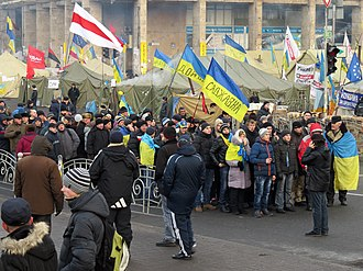17 December 2013 Ukrainian–Russian action plan - Euromaidan protesters gathered at Kiev's Maidan Nezalezhnosti on 18 December 2013