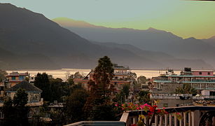 FEWA LAKE FROM THE SLIVER OAKS HOTEL POKHARA NEPAL FEB 2013 (8570574673).jpg