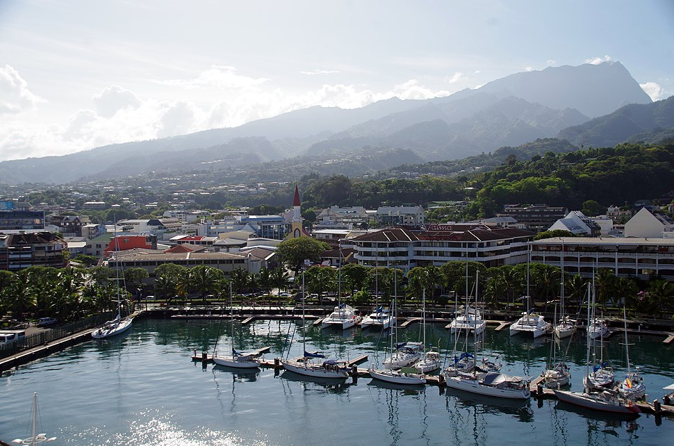 Marina of Papeete and city center (the commercial port is not visible in this picture)