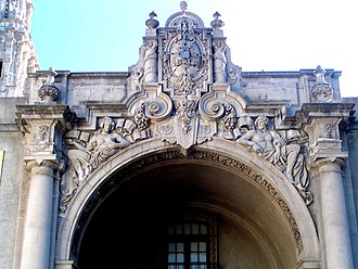 Piccirilli Brothers - West Gate in Balboa Park. These figures representing the Atlantic and Pacific Oceans are the work of Furio Piccirilli.