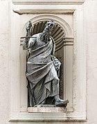Facade of San Francesco della Vigna (Venice) Saint Paul by Tiziano Aspetti.jpg