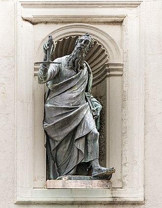 San Francesco della Vigna - Image: Facade of San Francesco della Vigna (Venice) Saint Paul by Tiziano Aspetti