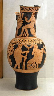 Faliscan red-figure flagon attributed to the Fluid group Antikensammlung Würzburg L 813.jpg