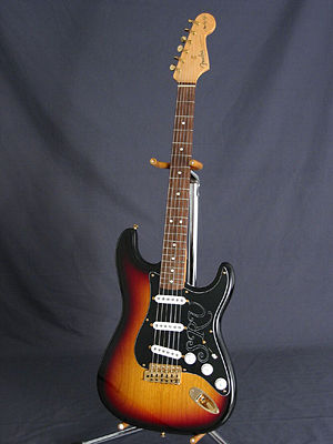 Industrial design - A Fender Stratocaster with sunburst finish, one of the most widely recognized electric guitars in the world.