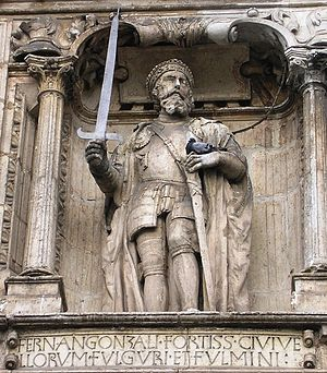 Castilian nationalism - Sculpture of Count Fernán González of Castile on the Arco de Santa María, González was the first autonomous count of Castille.