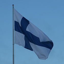 Finnish flag on independence day 2011.jpg