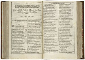 Henry VI, Part 2 - First page of The second Part of Henry the Sixt, with the death of the Good Duke Humfrey from the First Folio (1623).