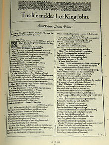 "A photograph of the first page of Shakespeare's play ""King John"", with two columns of text below."