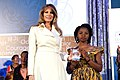 First Lady Melania Trump Poses for a Photo With International Women of Courage Awardee Rebecca Kabugho of the Democratic Republic of Congo (32909412353).jpg