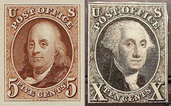 The first U.S. postage stamps have portraits of Benjamin Franklin and George Washington. Though highly collectable, they are far from being the most valuable. First US Stamps 1847 Issue.jpg