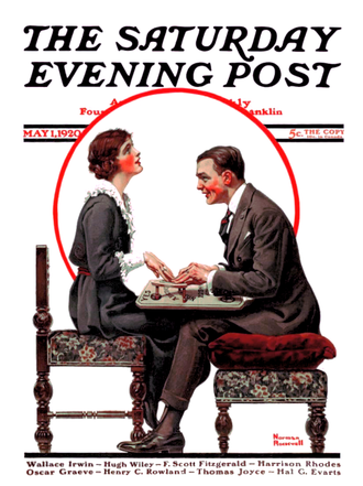 "Bernice Bobs Her Hair - The cover of the Saturday Evening Post (May 1, 1920) containing ""Bernice Bobs Her Hair"".  The issue marked the first time Fitzgerald's name appeared on the cover."