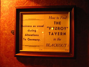Fitzroy Tavern - Wartime notice on the wall of the Fitzroy Tavern