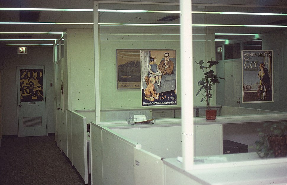 Floor area and war recruitment posters at Columbia Institute of War and Peace Studies