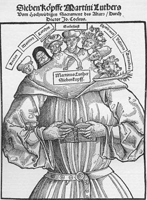 Anti-Protestantism - Woodcut showing Luther and the reformers as the Antichrist