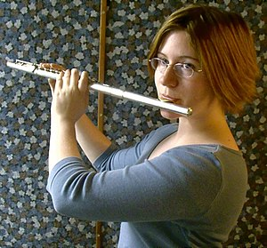 Members of the western concert flute family - Concert flute in use.