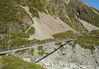 Hooker Valley Track - Suspension bridge over Hooker River upstream of Mueller Glacier lake