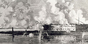 Bomb vessel - Fort Pulaski under fire. 1 May 1862.