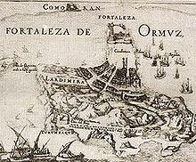 The city and fortress of Ormuz, 17th century.