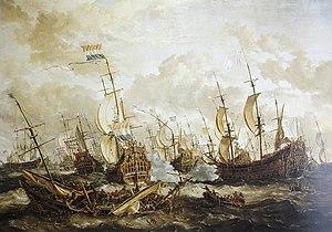 La batalla de cuatro días, 1. - 4.  Junio de 1666 por Abraham Storck, 1666.