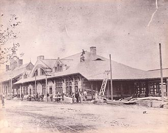Framingham station - H. H. Richardson depot under construction in 1885