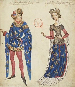Marie, Duchess of Auvergne - Marie of Berry and her third husband John of Bourbon. Guillaume Revel, Armorial d'Auvergne: BNF Français 22297 f. 17r