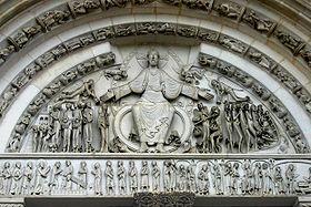 The tympanum of Vézelay Abbey, Burgundy, France, 1130s, has much decorative spiral detail in the draperies.